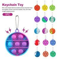 Round Fidget Toys Reliver Stress Key Chain Push It Bubble Antistress Toy Child Adult Sensory
