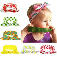 Discount linen hair bows Fruit Printing Bow Hair Accessories Headbands Newborn Baby Exquisite Soft Elastic Hairbands Summer Fashion Headband For Child Girls
