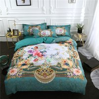 Discount royal blue bedding Royal High quality Blue flower 4 3pcs Bedding Set Duvet Cover Pure color Bed sheet Pillow case Queen Size