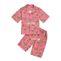 Mens Tracksuits 2 Piece Sets Short Sleeve Shirt and Pants Set Caroon Bear Printed Summer Fashion Pink