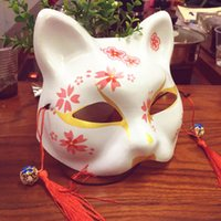 Discount half face japanese mask Fox Mask Animal Cosplay Cosutmes Japanese Cat Natsume Book of Friends Fox Half Face Mask Halloween Cosplay Mask Party Props