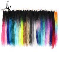 "22"" Black Grey Blue Purple Pink Senegalese Twist Hair Crochet braids 20 Strands Pack Ombre Braiding Hair Extensions"