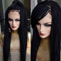 Perruque Long Braided Box Braids Synthetic Lace Front Wigs Black brownColor Micro Braids Wig With Baby Hair Heat Resistant For Africa American Women