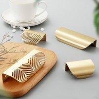 Invisible Brass Drawer Wardrobe Cabinet Handles Leaf Shape Furniture Door Handle Hidden Pull Knobs Hardware Simple North European Style