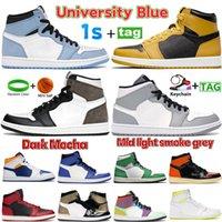 Newest Air jordan Retro 1 1s Basketball Shoes University Blue Fragment Dark Mocha pollen Shadow Light Smoke Grey patent bred chicago Toe UNC men women Sneakers