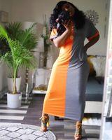 2021 Casual Color-lump Patchwork Croci Ankle Length Dress