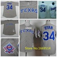 Wholesale Rangers Jersey China - 30 Teams- Free shipping Wholesale Texas Rangers Jersey #34 Nolan Ryan Gray White Retro Throwback Baseball Jerseys China Sports Jerseys