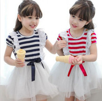 Wholesale Stripe Layer Dress - 2015 New Arrival Girl Dress Of Summer Short Sleeve Children Clothing Korean Stripe Layer Gauze Lace Baby Kids Tutu Dresses 1PCS Retail TR46
