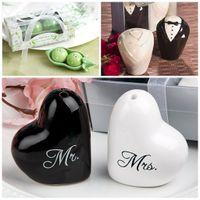 Wholesale heart pepper - Salt Caster Wedding Centerpieces Ceramics Seasoning Bottle Bride And Groom Dress Peas Heart Mr Mrs Design Pepper Shakers 3 2cd4 B