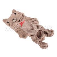 Wholesale dogs jumpsuit fleece - Wholesale-Fashionable Light Brown Red Heart Pet Dog Bear Fleece Jumpsuit Coat Clothes DSHL
