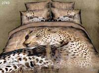Wholesale Leopard Print Bedding Cheap - 3d 4pcs leopard bedding set beding set resting printing bedclothes 3d bed linen lion tiger new cheap price sale 2743