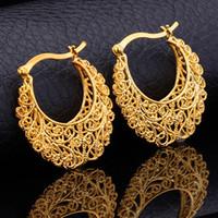 pendientes de mujer de oro real al por mayor-Artículo caliente 18K Real Gold Plated Hollow Flowers Hoop Earrings Esposas de baloncesto Pendientes de joyería de moda para mujer al por mayor