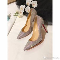 Wholesale Glitter Dress Tops - 2017 Luxury Brand High Top Multicolored Glitter Red Bottom Heels,Top Qulity Christian Genuine Leather Dress Shoes Red Bottoms