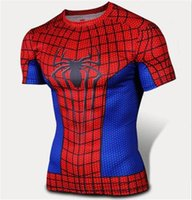 Wholesale Ironman Cycling Clothes - FG1509 2015 Superhero T shirt Tee Superman Spiderman Batman Avengers Captain America Ironman men long Shirt Cycling Clothing Plus size