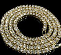 cuerda de oro macizo de 14k al por mayor-Collar mayorista para hombre 14k oro helado 1 fila de tenis Cadena HipHop Collar Bling Steampunk