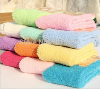Wholesale Wholesale Fuzzy Slippers - Wholesale-Soft women cheap Fuzzy Socks Warm thick Slipper Cozy Socks Korean socks 9-11 for winter indoor bed sock 6 pairs lot