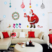 Wholesale Post Card Box - Card Paper Wall Decals Colourful Christmas Tree Xmas sticker wall Decal Removable Windows Wall Stickers Christmas Wall Stickers