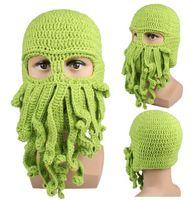 Wholesale Beanie Beard Kids - Novelty Handmade Knitting Wool Funny Beard Octopus Hats Caps Crochet Knight Beanies Ski Mask Squid hat For kids and Unisex