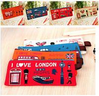 Wholesale Wholesale Wallet Best Price - Best price Retro London Oxford Cloth School Pen Pencil BAG Case Pouch Purse BAG Wallet Coin Pouch BAG Case 100pcs
