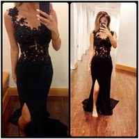 Wholesale Mermaid Ruffle Front Slit Dress - Sexy Black Mermaid Evening Dress Side Slit Sheer Lace Appliques Prom Dresses 2016 Beaded Party Formal Gown robe de soiree