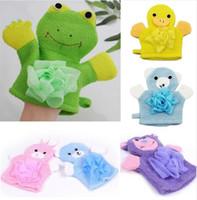 coelho de toalha de animais venda por atacado-Cute Lovely Cartoon Animals Kids Bath Mitten Buddy Duck Frog Rabbit Fun Crianças lavando banho luvas Baby Bath Rub Towel