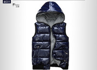 Wholesale Glossy Black Jacket - Fall-Big lovers thermal glossy reversible wadded jacket vest cotton-padded vest with a hood