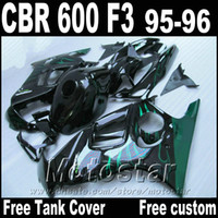 tanque de cbr al por mayor-Piezas de la motocicleta Tank gratis para carenados HONDA CBR600 F3 1995 1996 llamas verdes en negro CBR 600 f3 95 96 kit de carenado