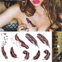 Wholesale Tatuagem Lip - Brown Feather Birds Tattoo Henna Temporary Tattoo Body Art Tatoo Sticker tatuagem tatuaje