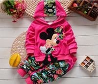 Wholesale Girls Hooded T Shirt - Baby girls sets infant long sleeve boys clothes Baby Clothing Minnie kids body suit T Shirt + Pants Clothing set Spring Autumn
