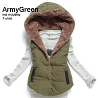 Wholesale Larger Women - Wholesale-Promotional Larger Size Women's Coral Fleece Coat 2016 Fashion All-match Cotton Patchwork Gilet Sleeveless Hooded Vest Winter