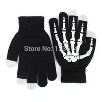 Wholesale Skeleton Touch Screen Gloves - Wholesale-New Style Winter Full Finger Unisex Ghost Bone Touch Screen Knit Skeleton Gloves Free&Drop Shipping