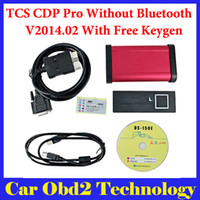 Wholesale Red Cdp - 2014.R2 Keygen ! Red Interface Auto TCS CDP Pro Plus With LED 3 IN1 TCS CDP Plus Without Bluetooth + Carton Box Free Shipping