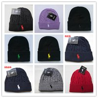 Wholesale Cheap Knitted Hats For Women - Cheap 2017 Fashion Unisex Spring Winter Hats for Men women Knitted Beanie Wool Hat Man Knit Bonnet Polo Beanie Gorros touca Thicken Warm Cap