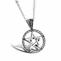 Wholesale Hollow Point Necklace - Hollow five-pointed star Pendant Lovers Popular Titanium Steel Women Men Necklace Jewelry Classical Design Birthday Gift