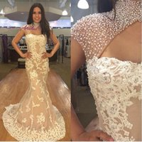 Wholesale High Neck Sleeveless Dresses - Major Beaded High Neck Mermaid Evening Dresses With Lace Applique 2016 Sleeveless Sweep Train Tulle Prom Party Dresses Formal Gowns