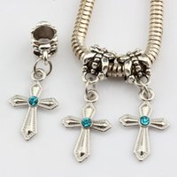 Vente chaude ! 100Pcs Bleu Rhinestone Sword en forme Croix Charm Dangle Bead Fit Charm Bracelet Bijoux DIY 12mm * 30mm