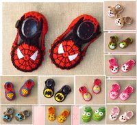 Wholesale Crochet Shoes Baby Cartoon - Superman Spiderman Batman cat cartoon baby wool crochet toddler shoes Hand-woven girl Mary Jane shoes drop shipping 12pair 24pcs