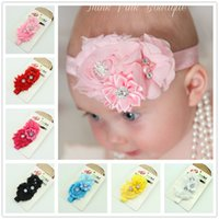 Wholesale Hair Pieces For Babies - New Handmade Pearl Chiffon Flower Children Hair Bands Floral 20 Pieces Headbands For Girl Mix Colors Baby Hair Accessories