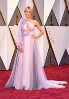 Wholesale Heidi Klum Purple Dresses - 2016 The 88th Oscar Awards Heidi Klum Evening Dresses One Shoulder Colorful Pleats A Line Formal Dresses Red Carpet Celebrity Dresses