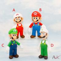 ems oyuncakları toptan satış-EMS Ücretsiz 4 stil Çocuk Süper Mario oyuncaklar 2015 yeni PVC Süper Mario ve Luigi donkey kong Aksiyon Figürleri mario B