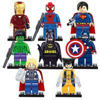 Wholesale Batman Minifigure Toys - Super Heroes The Avengers 8pcs lot Iron Man Hulk Batman Wolverine Thor Building Blocks Sets Minifigure Bricks Toys