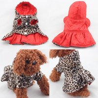 Wholesale Costume Free Shiping - Fashion Pets Dogs Leopard Pattern Tutu Coat Dress Puppy Hoodie Both Sides Wear Clothes free shiping wholesale