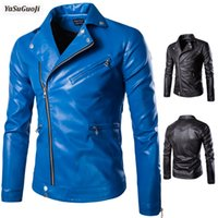 Wholesale inclined zipper jacket - Wholesale- New 2017 autumn fashion inclined zipper design turn down collar slim fit motorcycle leather jacket men size m-5xl PY13