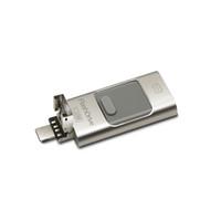 32gb usb bellek sopa sürücüsü toptan satış-USB Flash Sürücü 64 GB Metal OTG Pendrive Yüksek Hızlı Memory Stick 32 GB 3 in 1 Flash U Disk