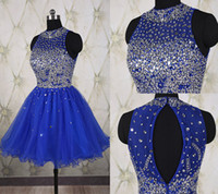 Wholesale Evening Mini Dress Jewel - Royal Blue Formal Prom Dress Pleated Mini Evening Gowns Short Evening Dresses With Beaded Sequins Crew Collar Knee Length Dress