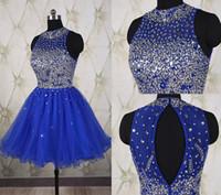 gece elbisesi pilili yaka toptan satış-Kraliyet Mavi Örgün Balo Elbise Pileli Mini Abiye giyim Boncuklu Sequins Ekip Yaka Diz Boyu Kısa Abiye Elbise