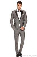 Wholesale Cheap Custom Blazers Men - Wholesale-Blazers For Men Suits Custom Made Men's Fashion Wedding Morning Groom Gray Tuxedos Business Prom Cheap 3 Piece Jacket Pants tie