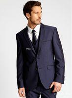 Wholesale Grooms Tuxedo Jacket Blue - Custom Made Two Buttons Groom Tuxedos Navy Blue Best man Notch Lapel Groomsman Men Wedding Suits Bridegroom (Jacket+Pants+Tie+Vest) J234