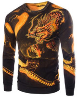Wholesale New China Sweaters - 2016 New men pullovers sweaters China Dragon The Great Wall pattern printing mens sweaters free shipping