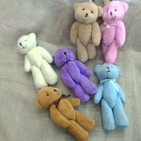 Wholesale new toys bulk - Bulk 11cm Stuffed Animals Plush Mini Teddy bear With Bow Mini Urso De Pelucia Oso Joint Bare Bear Bouquet Pacakge 6color 40pc lot